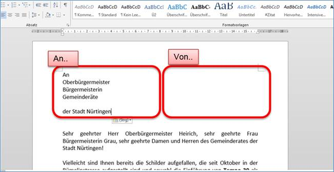 Im Word Brief Die Anschrift Und Den Absender In Zwei Blöcken