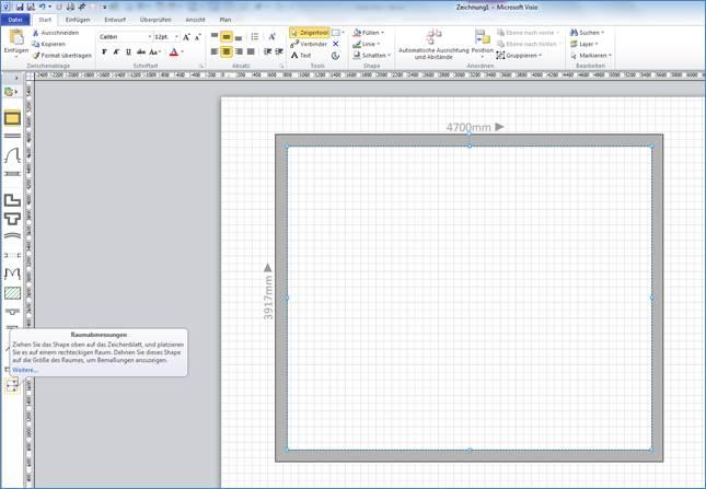 Bad oder Küche skizzieren mit Microsoft Visio @ Programmierer Office