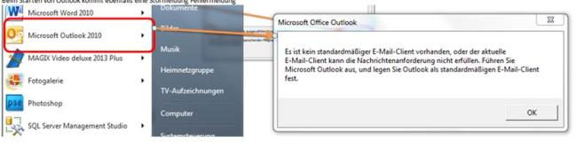 es ist kein standardmäßiger e-mail-client vorhanden