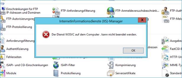 Offen: IIS Fehlermeldung Der Dienst W3SVC auf dem Computer
