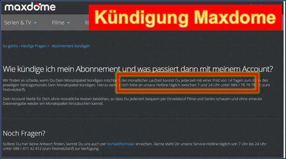 Maxdome Kündigung
