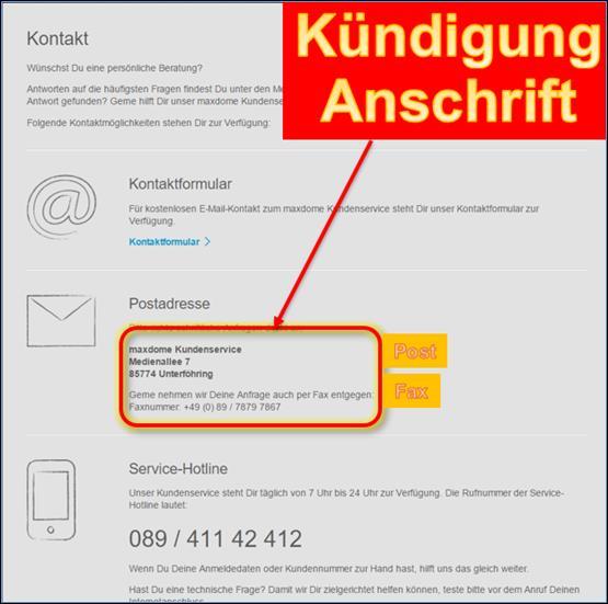 Kündigung Maxdome Vorlage Post Und Fax At Codedocude Sonstiges