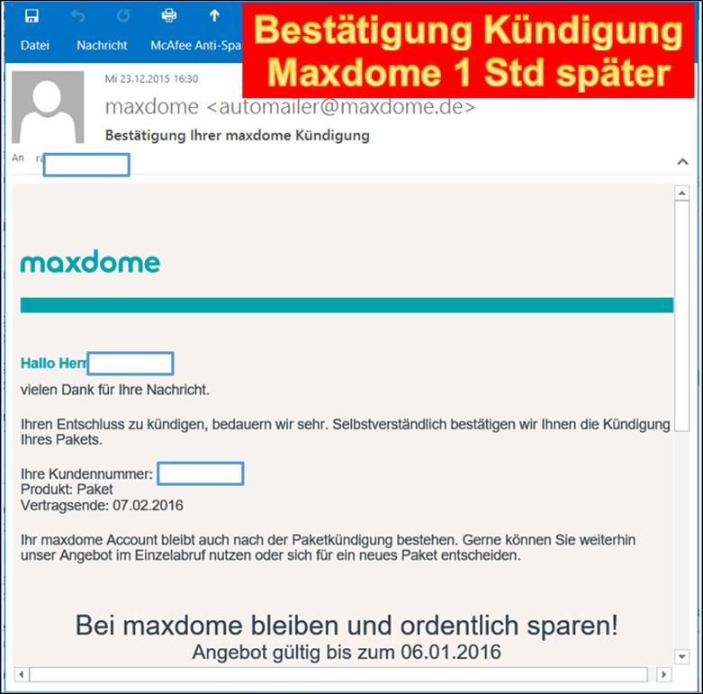 Maxdome Kündigung Per Email