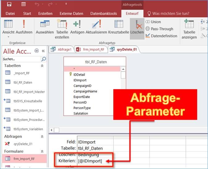 Access: Abfrage Parameter erstellen, eingeben und ausführen