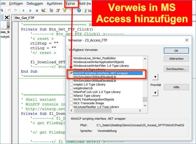 Access: SFTP using in MS Office vba Teil 2 Basic