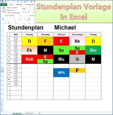 Stundenplan Als Excel Vorlage Codedocu De Office 365