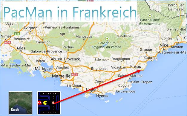 Wie kann man Pac Man in Google Maps spielen @ codedocu_de Google