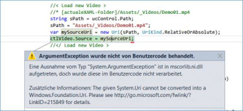 UWP Fehlermeldung: The given System.Uri cannot be converted into a Windows.Foundation.Uri
