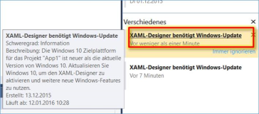 Visual Studio: Meldung: XAML Designer benötigt Windows Update