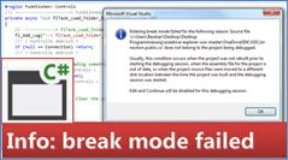 Fehlermeldung von Visual Studio Community: Entering break mode failed