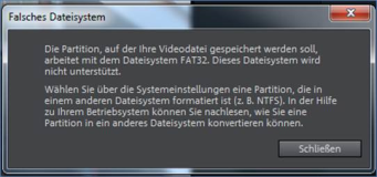 Magix Video Deluxe Felermeldung: Falsches Dateisystem FAT32 NTFS