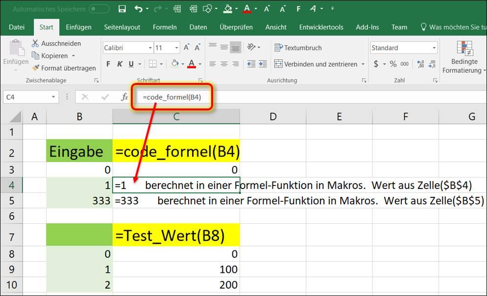 Excel Formel Eingeben