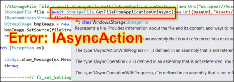 UWP Fehler: CS0012 IAsyncAction  You must add a refernece to assembly Windows