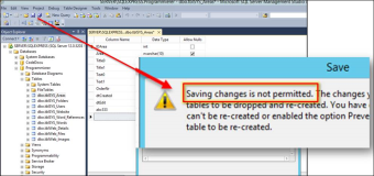 SQL Server Meldung: Saving changes is not permitted