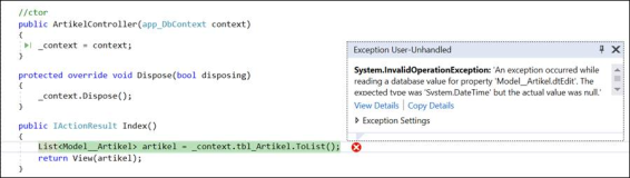 ASP Error: System.InvalidOperationException, An exception occurred while reading a database value