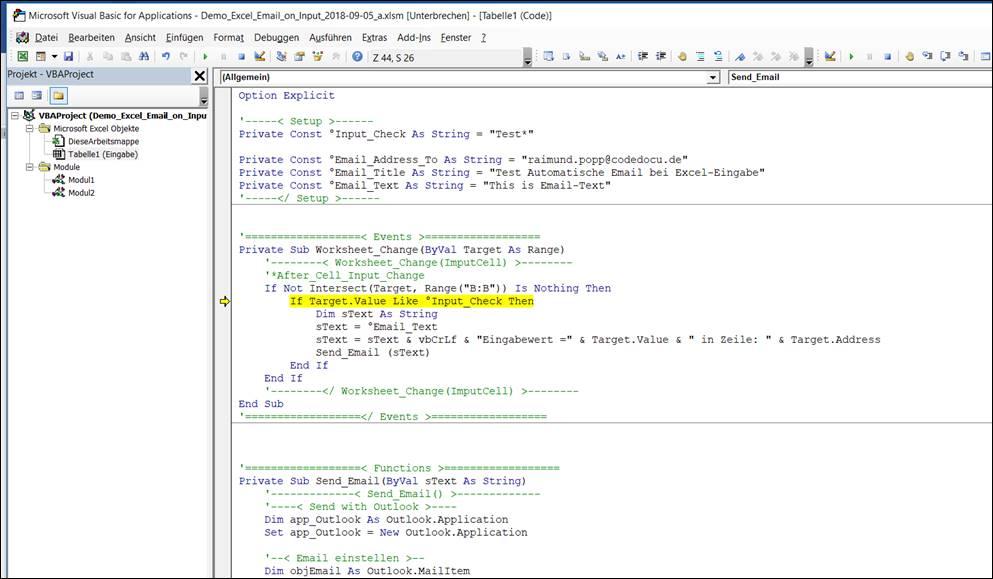 Excel Vorlage Automatisch Eine Email Versenden Bei Einer Bestimmten