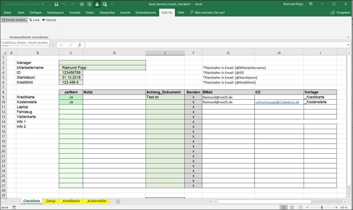 Excel Vorlage Zum Versenden Mehrer Emails Mit Verschiedenen Text