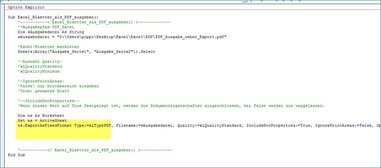 Excel: Excel Blätter als PDF per vba Makro Code ausgeben