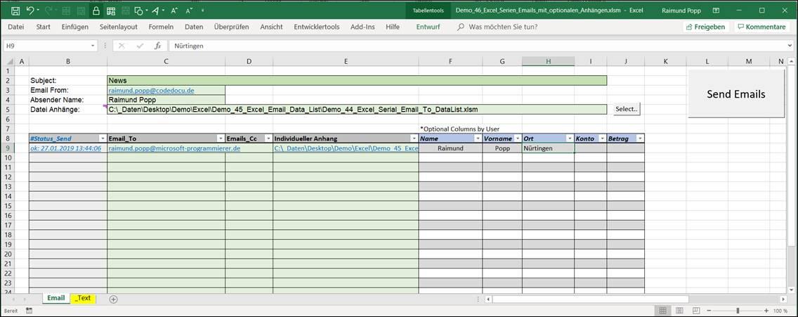 Vba Code Zum Serienmassigen Versenden Von Emails Aus Excel