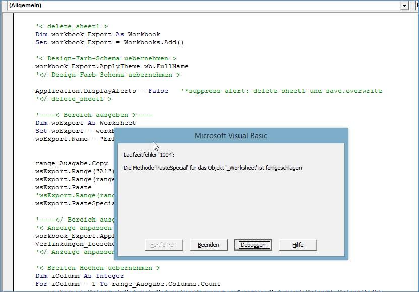 Gelöst: Excel vba copy paste values 100e Fehler @ codedocu_de Office 365