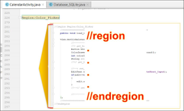 Android java: Code Bereich //region - //endregion
