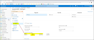 Azure Function Einstellungen : Integrate Manage Monitor